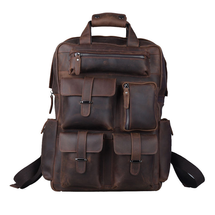 Some are made from buffalo leather, others from top-grain American steer hide leather and then, there are the bags made from hand tooled antique leather. Our selection of men's bags include duffel bags, a shaving kit, a waist pack and many more.