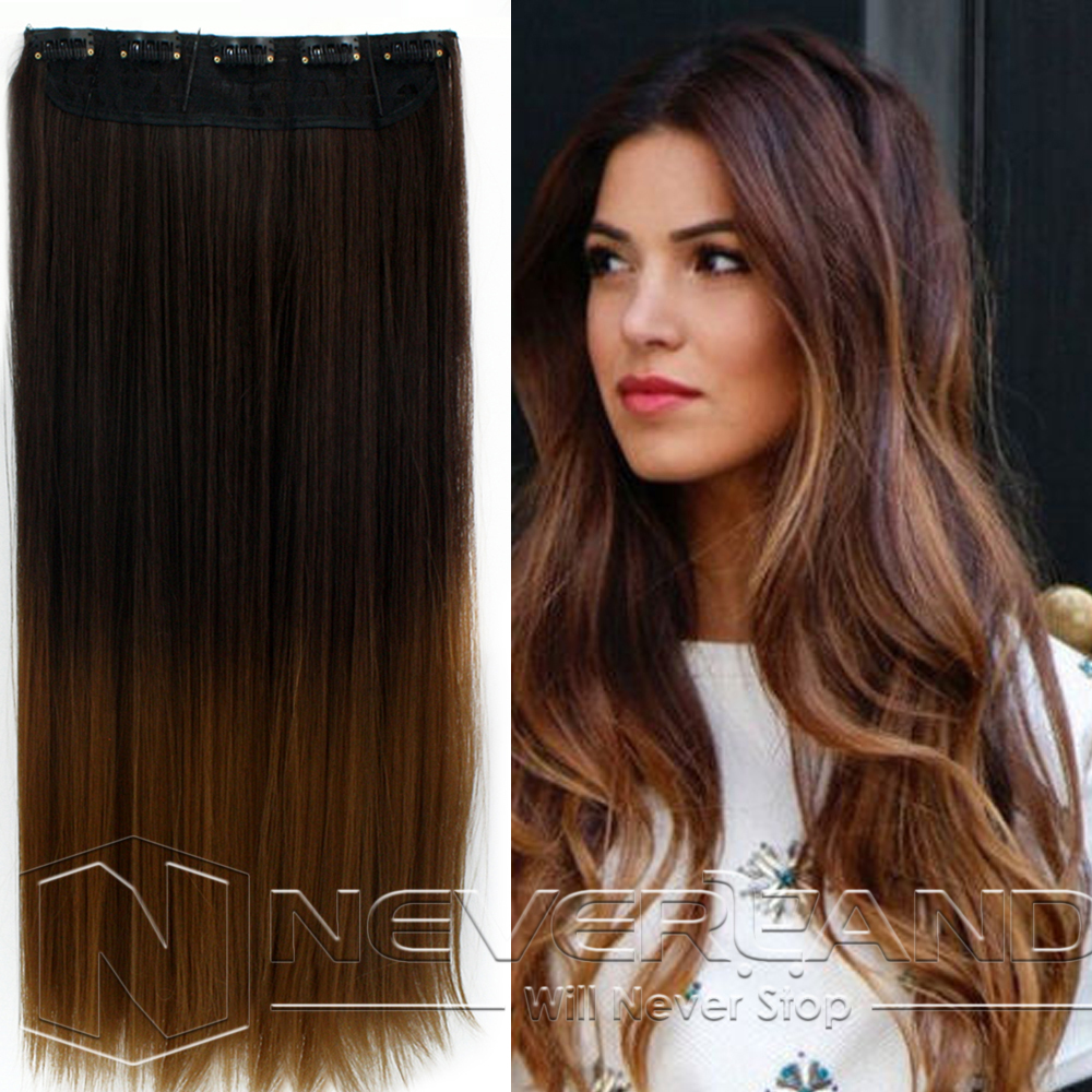 Dip Dye Clip In Long Curly Straight Synthetic 5 16 Clips