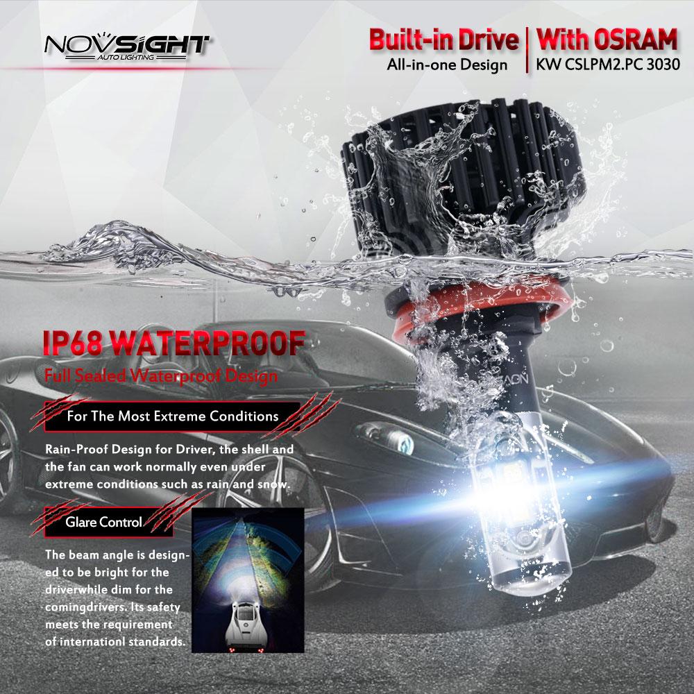 Turbo Universal Headlight Led String: NOVSIGHT Universal 12000LM H11 H8 H16 LED Headlight Light