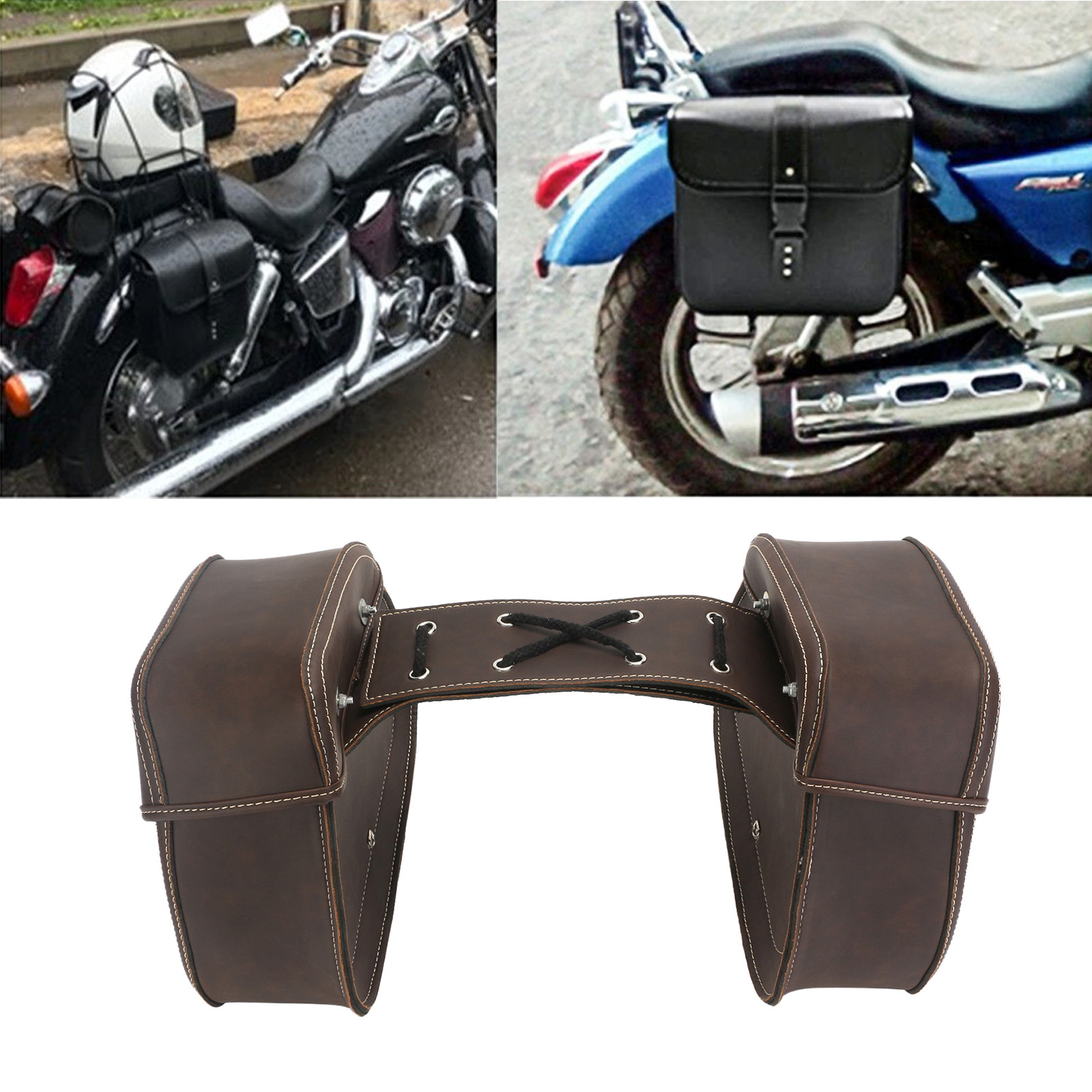 pu leather motorcycle luggage saddle side bags for harley davidson