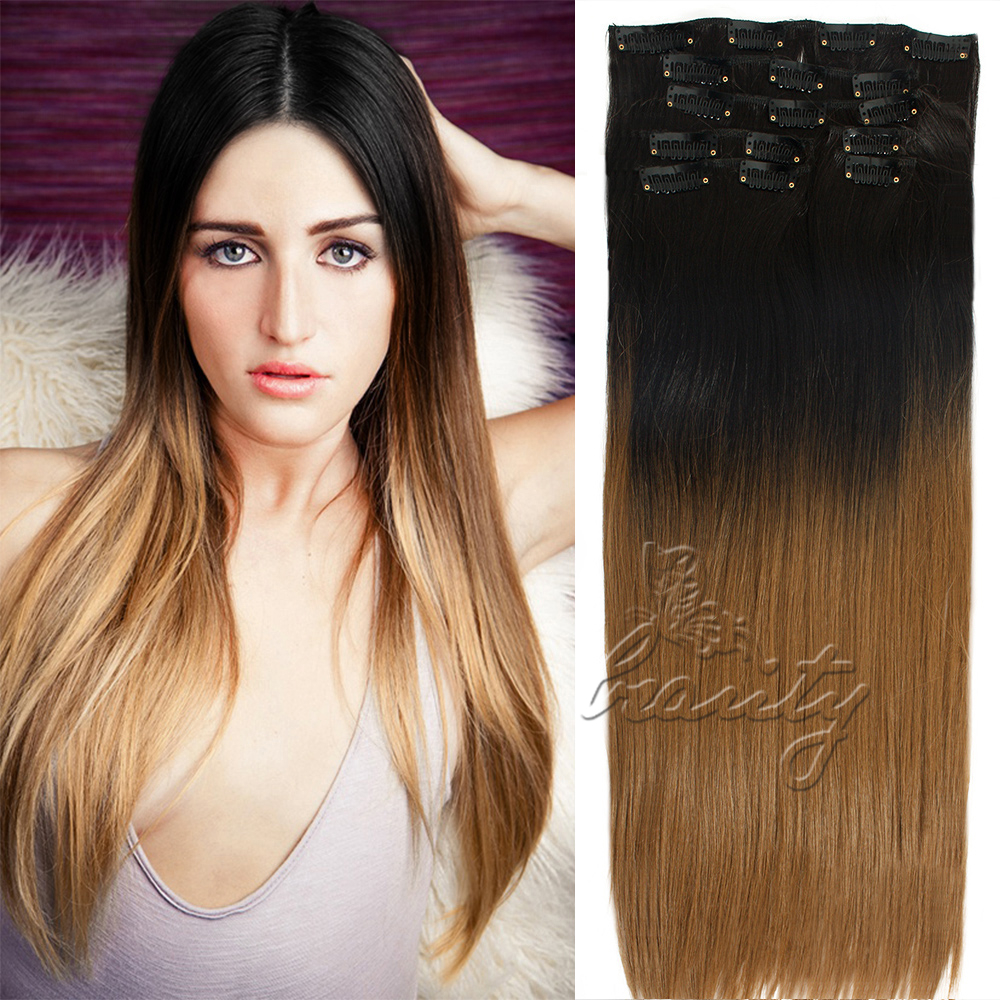 Dip Dye Clip In Long Curly Straight Synthetic 516 Clips Ombre Hair