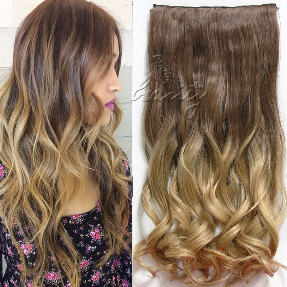 Dip dye clip in long curly straight synthetic 516 clips ombre chocolate brown to sandy pmusecretfo Gallery