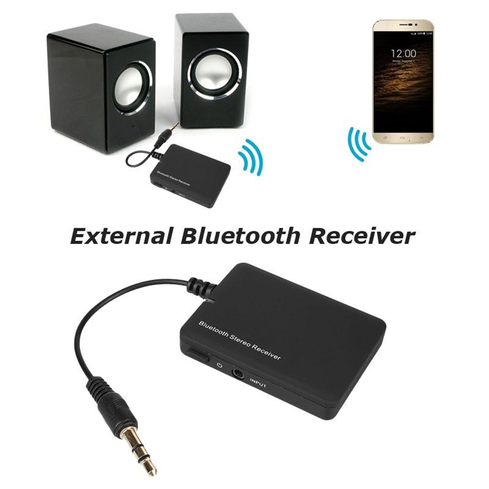 Wireless Bluetooth Audio Stereo Music Receiver 3.5mm Car Aux Adapter A2DP 702706037570