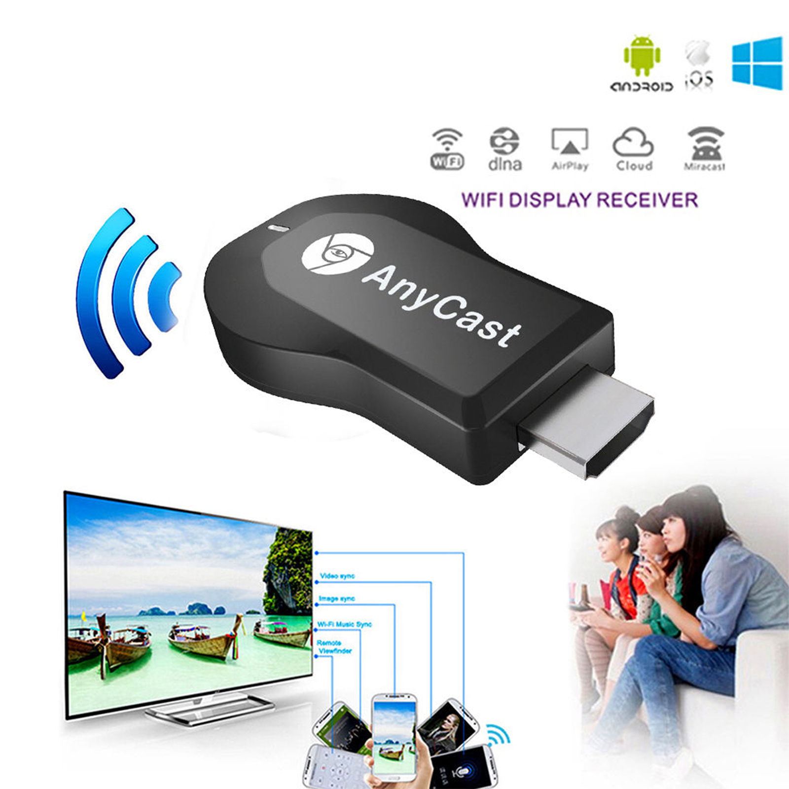 AnyCast M2 Plus WiFi Display Dongle Receiver HDMI 1080P TV ...