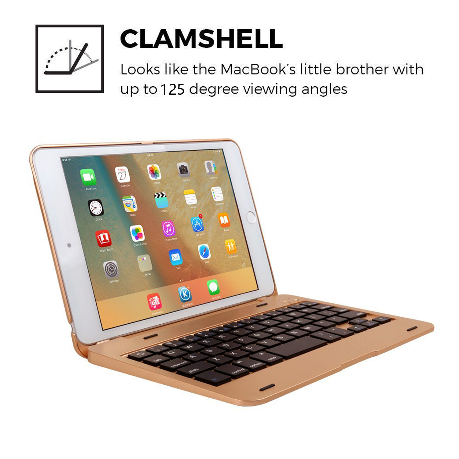 b1249c5b3ef Details about Rose Gold Wireless Bluetooth 4.0 Keyboard Case Cover For ipad  mini3/2/1