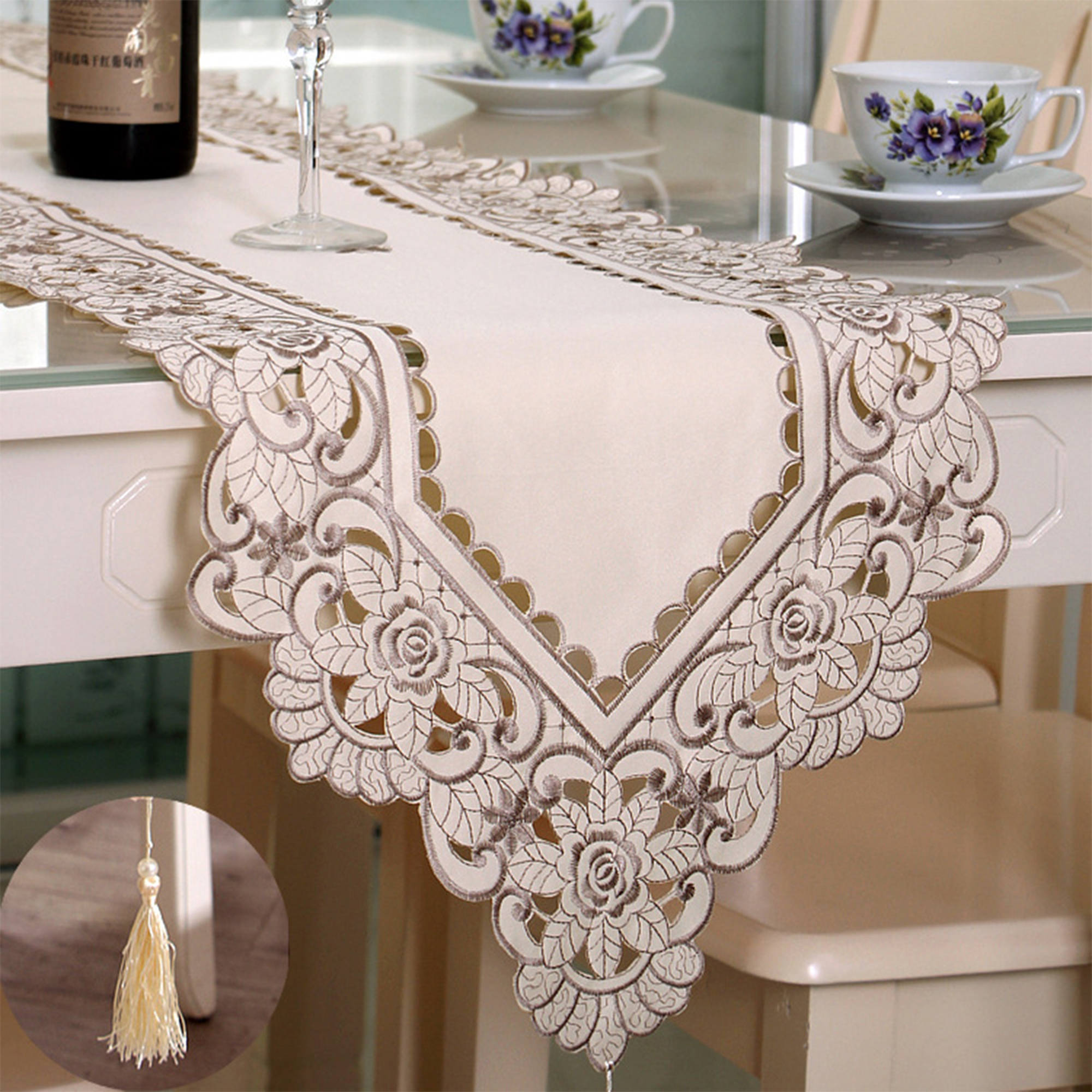 Vintage Table Runner Elegant Runner Cabinet Room Dining Room Table Decoration Ebay