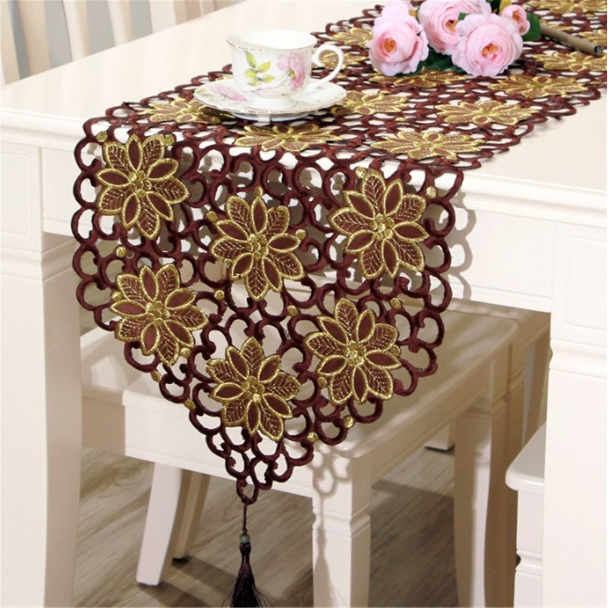 Dining Room Table Runner: Vintage Table Runner And Dresser Scarves Dining Room Table