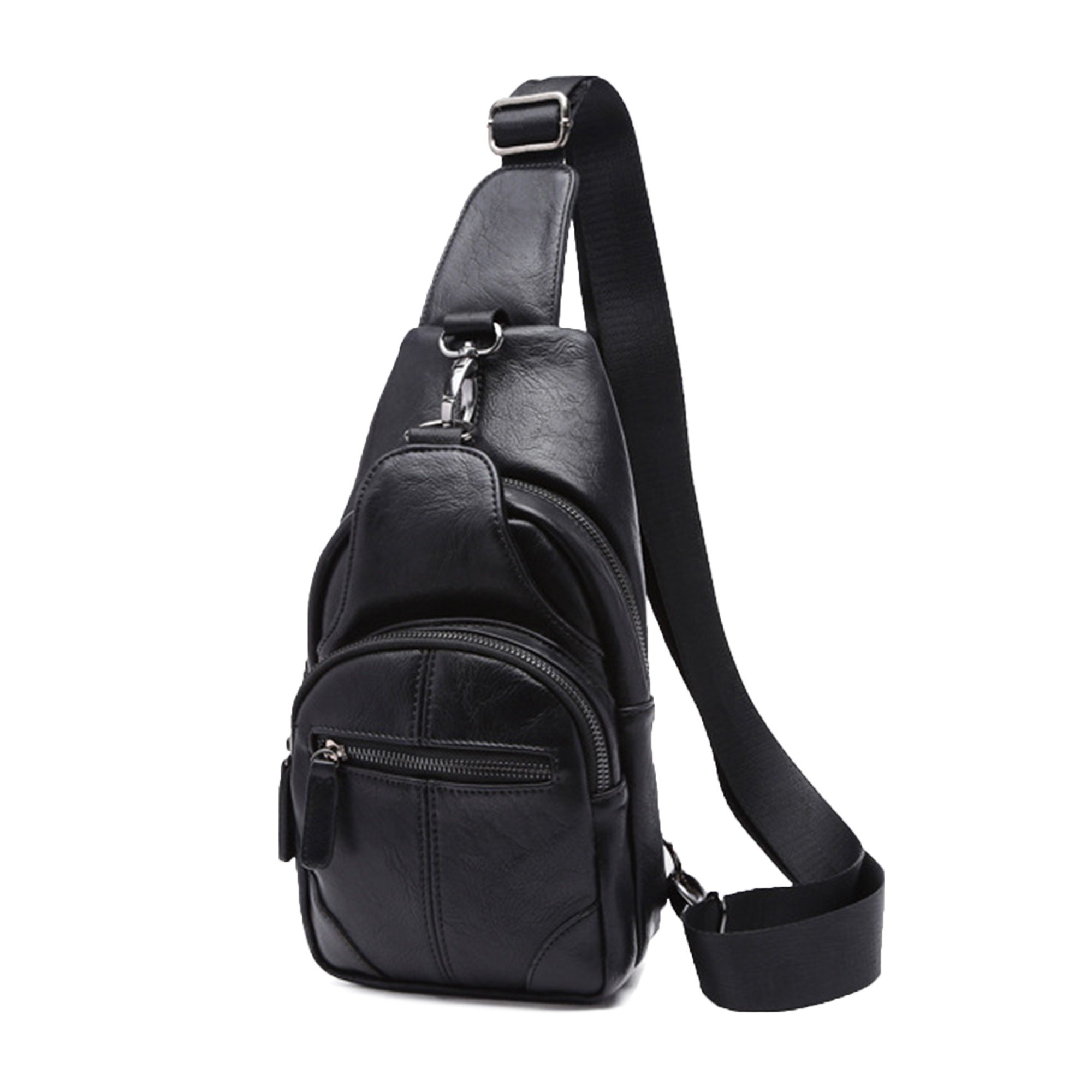 d6337e3581ce4b Vintage PU Leather Sling Chest Bag Casual Travel Cross Body Shoulder ...