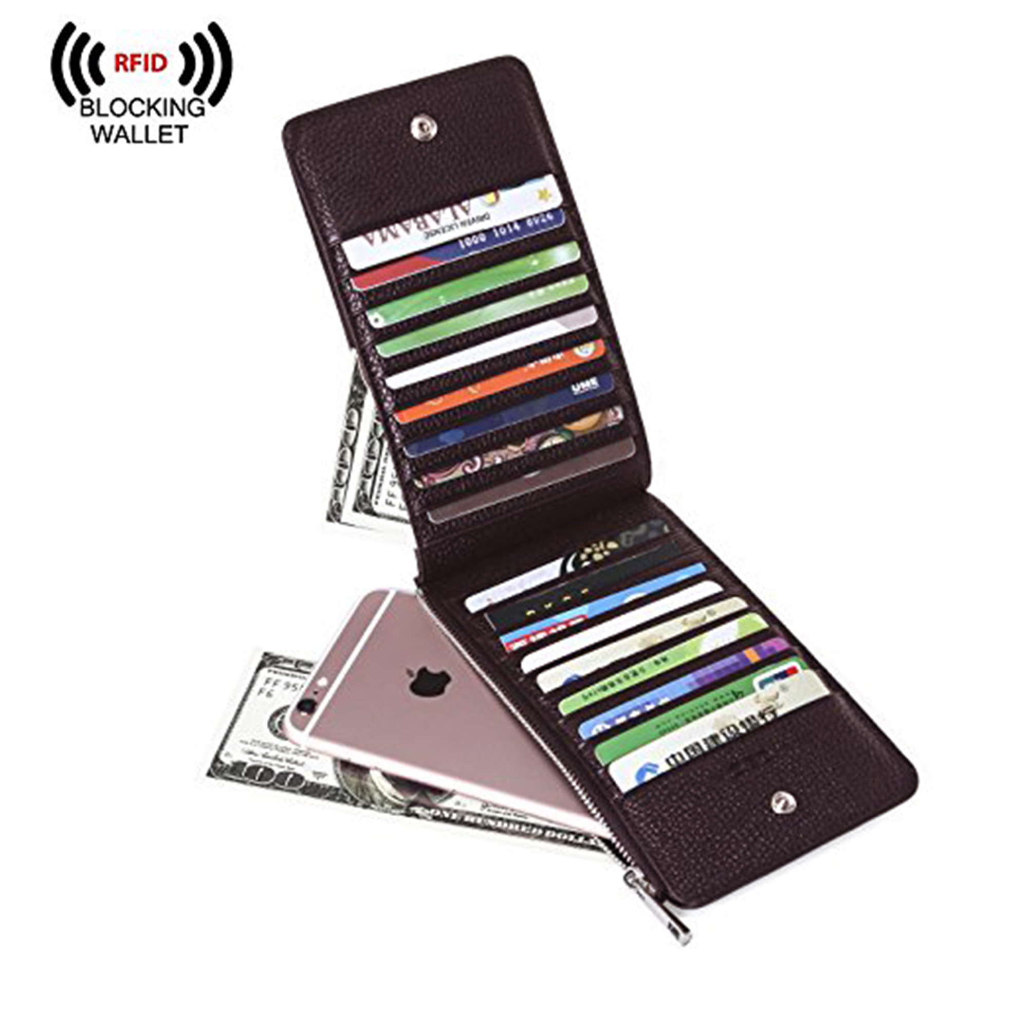 d844fdfe3f15 Details about RFID Blocking Leather Multi Card Organizer Wallet with Zipper  for Men & Women