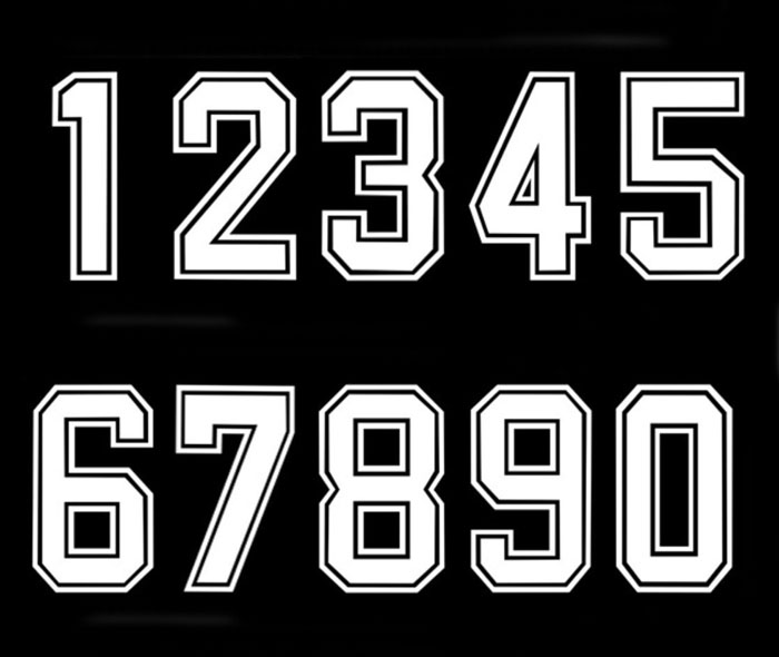 Bold Font Iron On Vinyl Transfer White Numbers Football