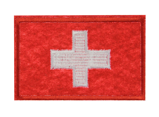 Swiss switzerland national flag emblem embroidered patch sew iron