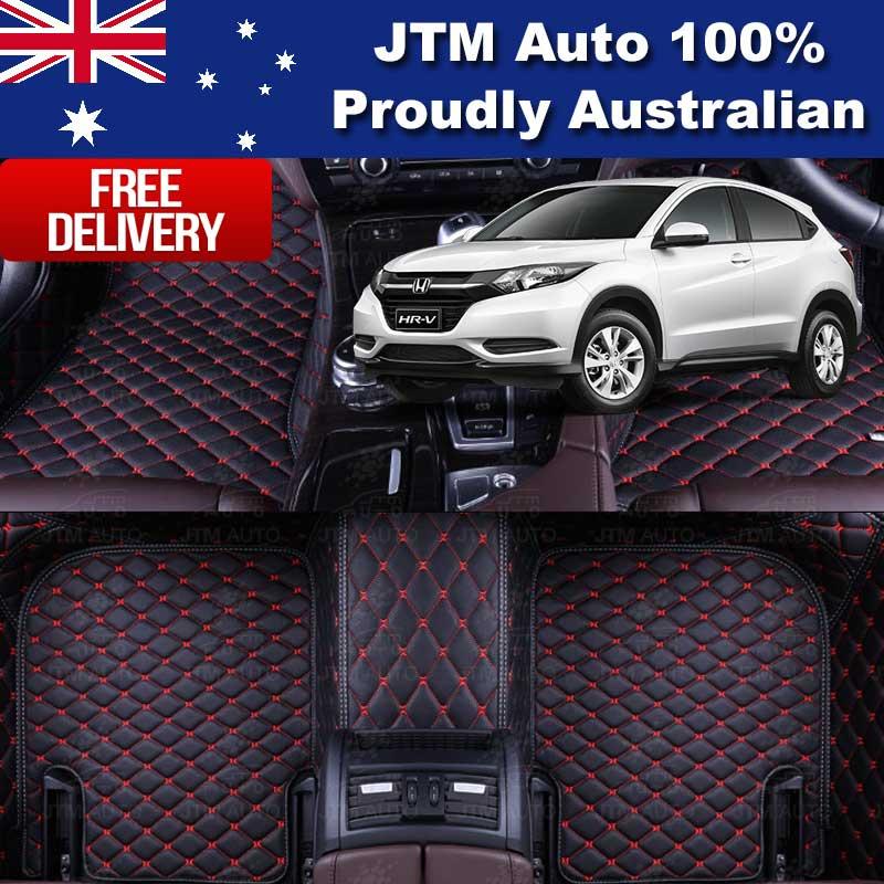 Honda HRV HR-V 3D Floor Mats Carpet Black PU Leather 2015-2017 Front And Rear