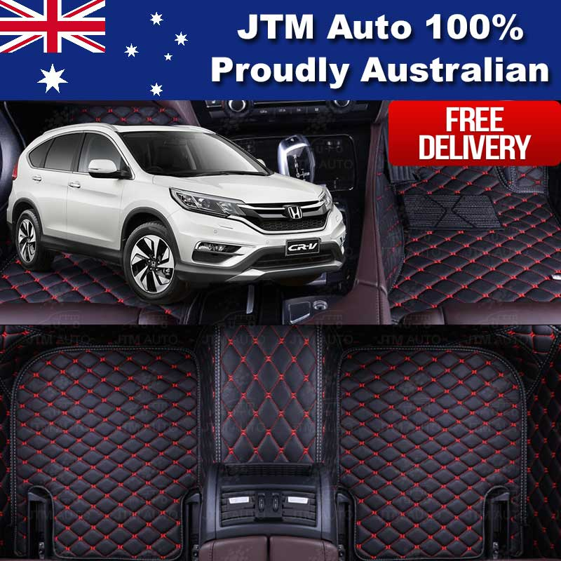 Honda CRV 3D Floor Mats Carpet Black PU Leather 2012-2017 Front And Rear