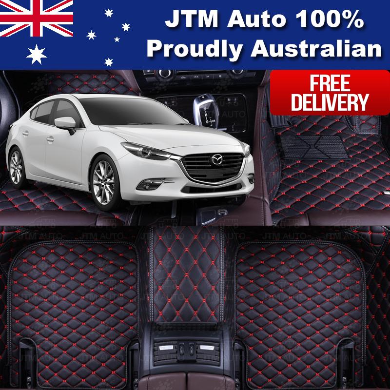 Custom Made Mazda 3 3D Floor Mats Carpet Black PU Leather Front + Rear 2014-2018