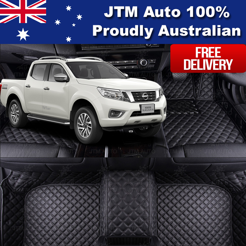 Custom Made Nissan Navara NP300 3D Leather Floor Mats Front + Rear 2014-2017