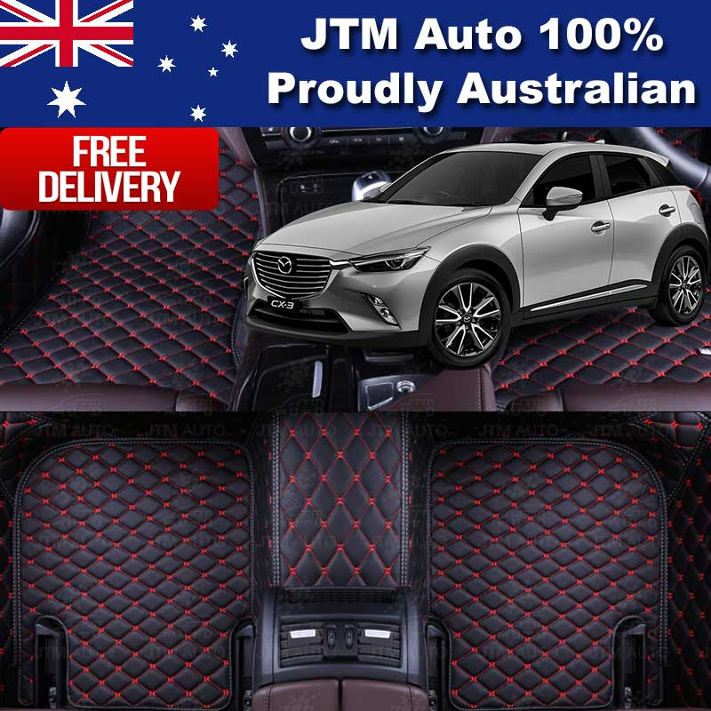 Custom Made Mazda CX3 CX-3 3D Floor Mats Black Leather Front + Rear 2015-2018