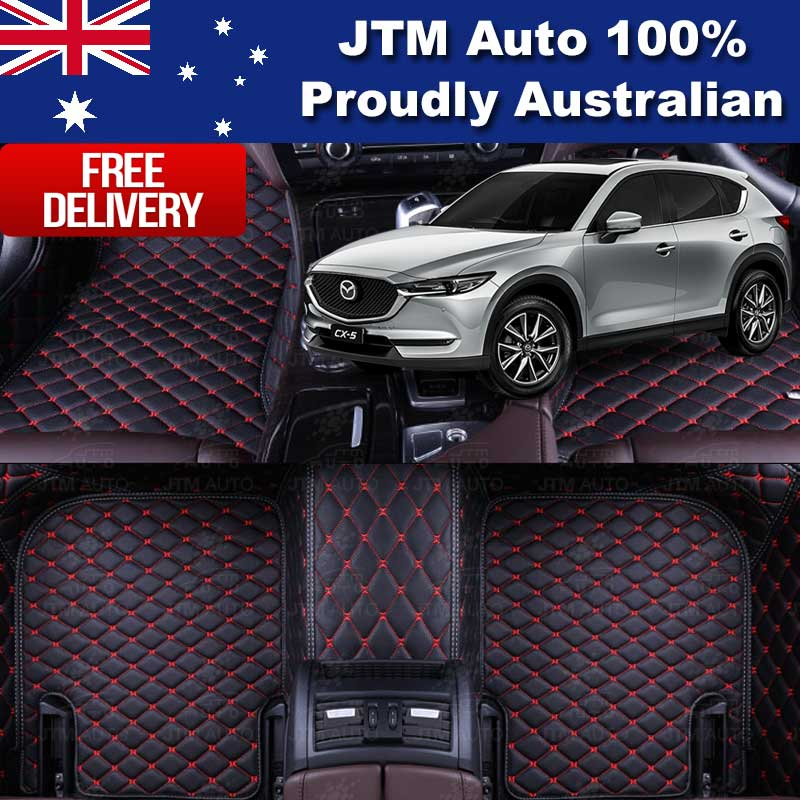 Custom Made Mazda CX5 CX-5 3D Floor Mats Black Leather Front + Rear 2012-2017