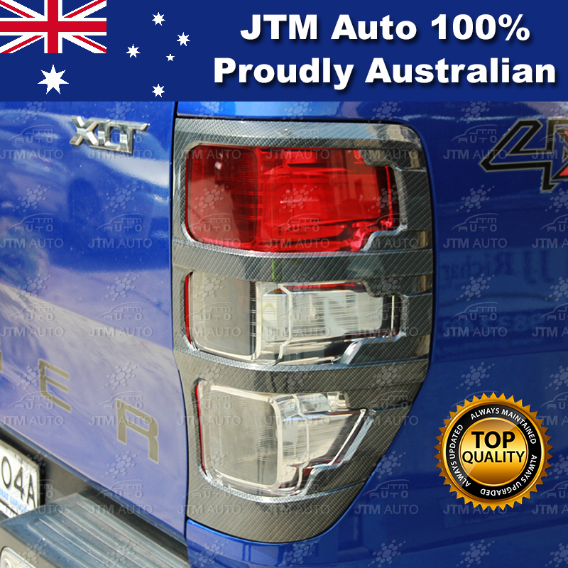 Carbon Kevlar Tail Light Trim Cover Protector to suit Ford Ranger 2012-2018