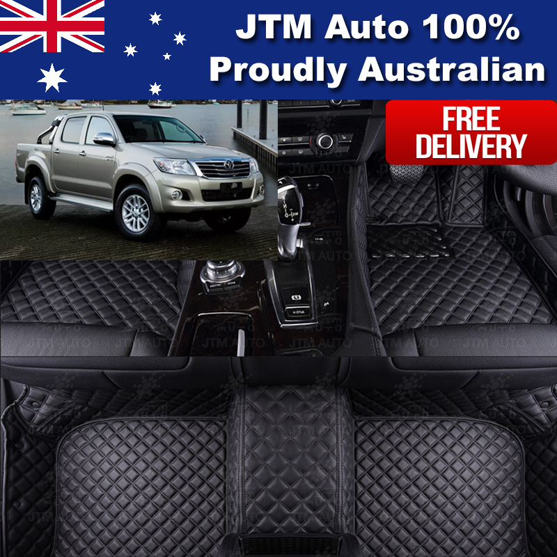 Custom Made 3D Leather Floor Mats Black Front + Rear Suit Toyota Hilux 2005-2015