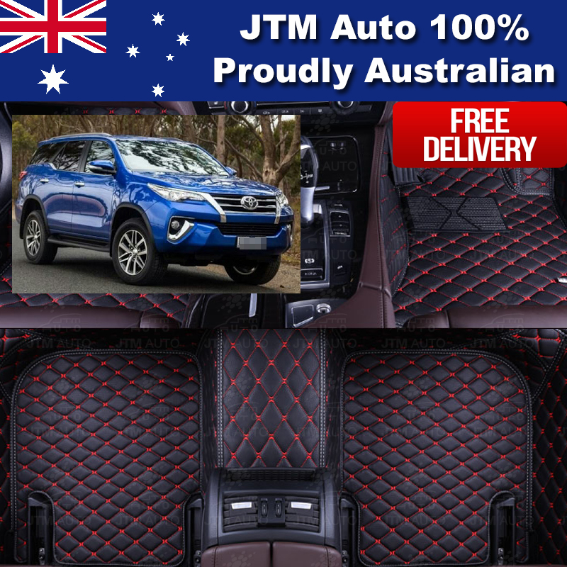 Custom Made 3D Floor Mats Leather Front + Rear to suit Toyota Fortuner 2015+