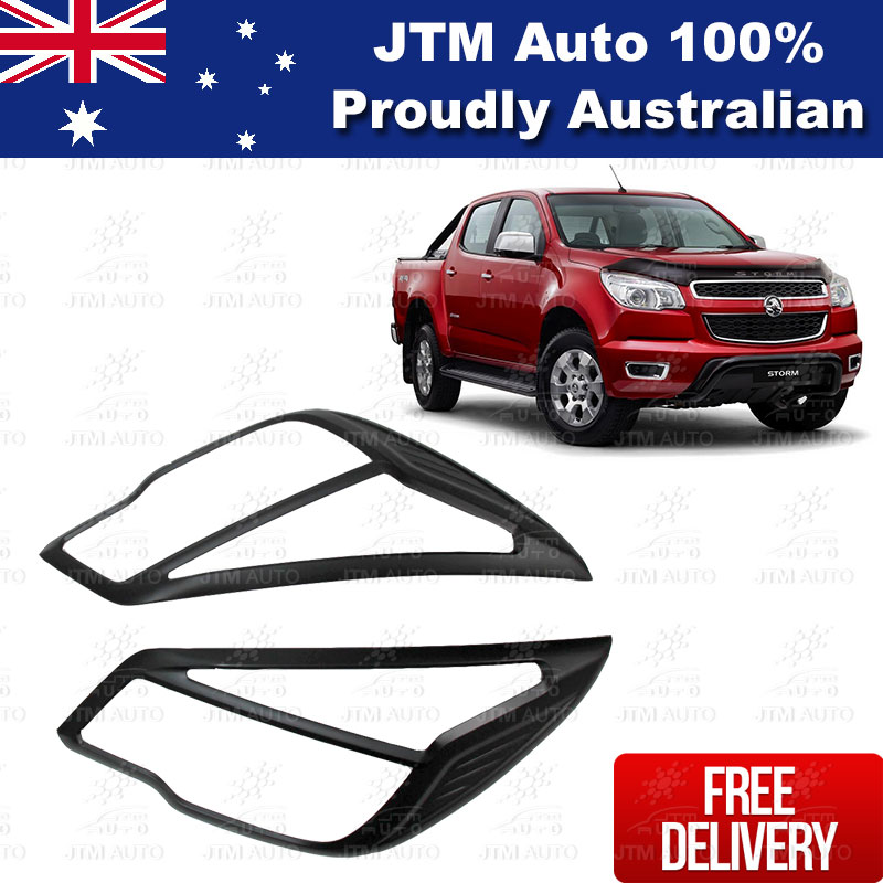 MATT Black Head Light Cover Trim Protector to suit Holden Colorado 2012-2016
