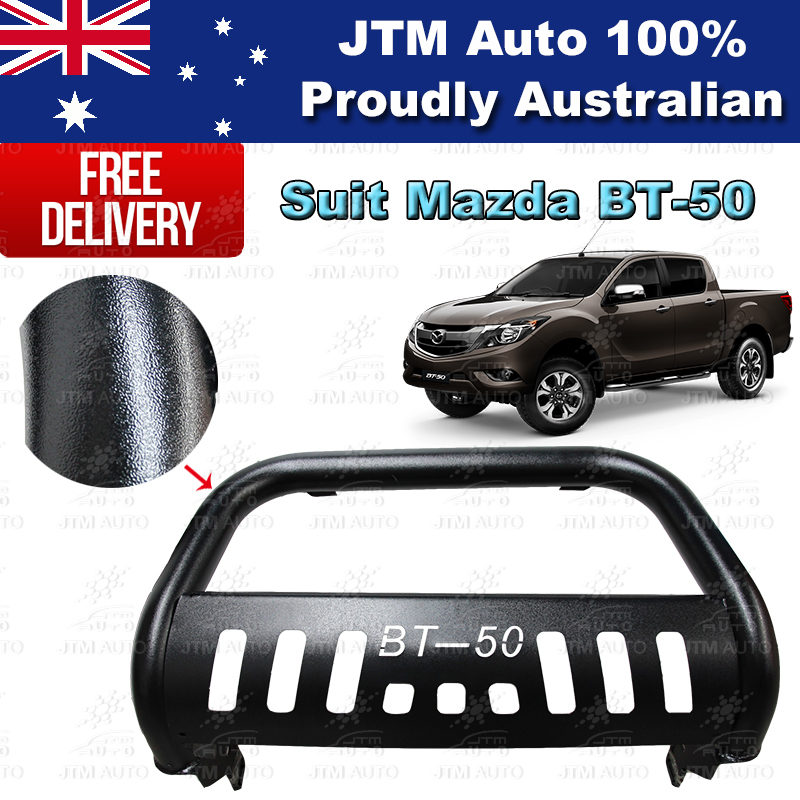 "Black Nudge Bar 3"" Steel Grille Guard to suit Mazda BT-50 BT50 2012-2018"