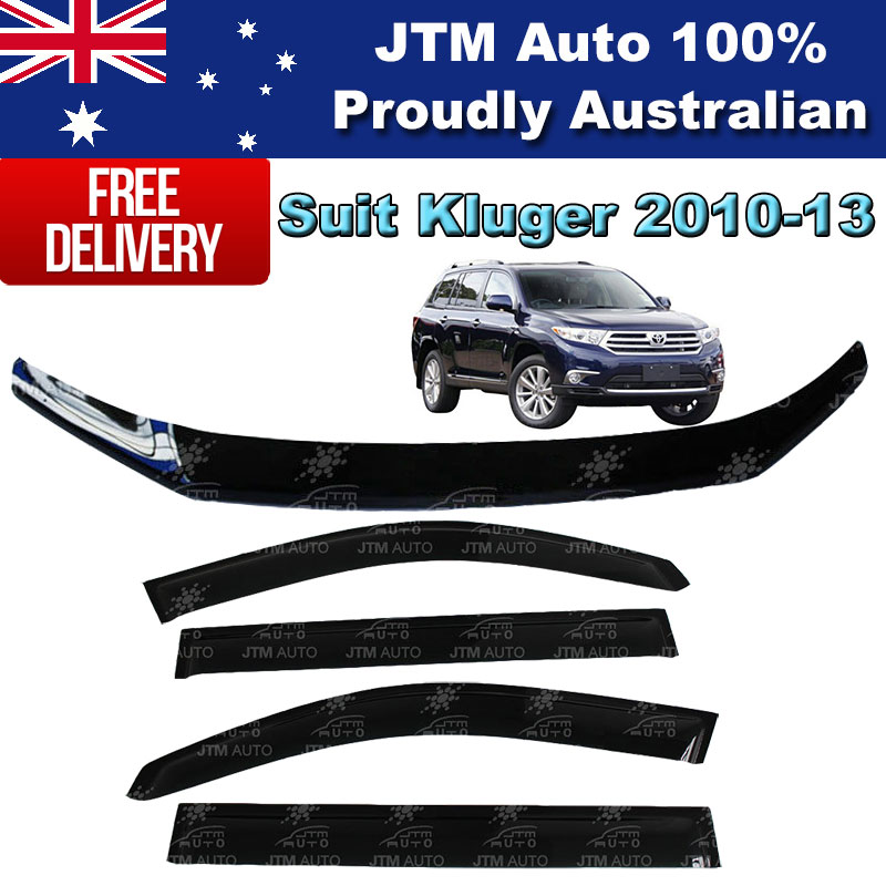 Bonnet Protector Guard + Weather Shields Visors to suit TOYOTA Kluger 2010-2013