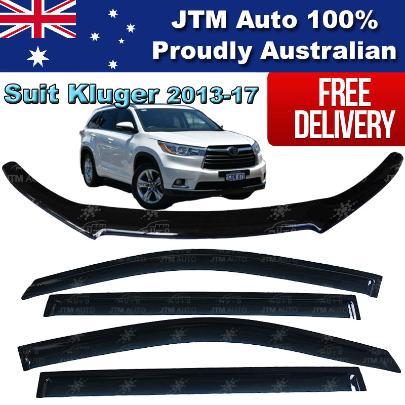 Bonnet Protector Guard + Weather Shields Visors to suit Toyota Kluger 2013-2017
