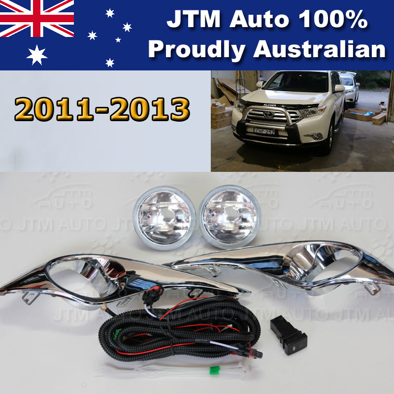 Driving/Fog Light Lamp Complete Kit Chrome Cover to suit Toyota Kluger 2011-2013