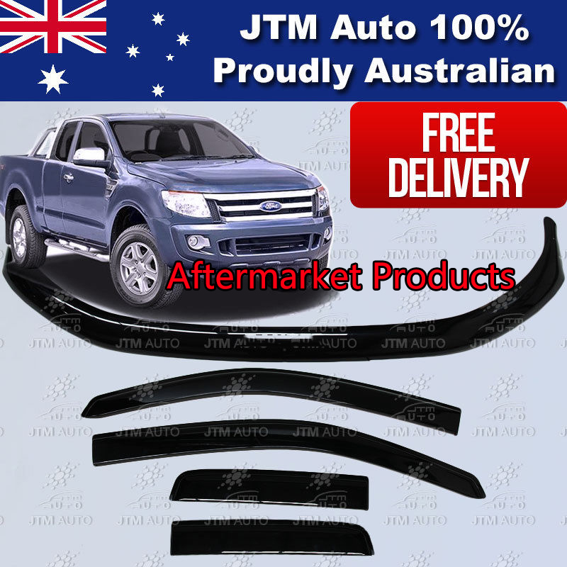 Bonnet Protector + Weather Shields to suit Ford Ranger PX Extra Cab 2012-2015