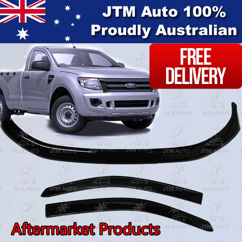 Bonnet Protector + Weather Shields Visor tosuit Ford Ranger Single Cab 2012-2015