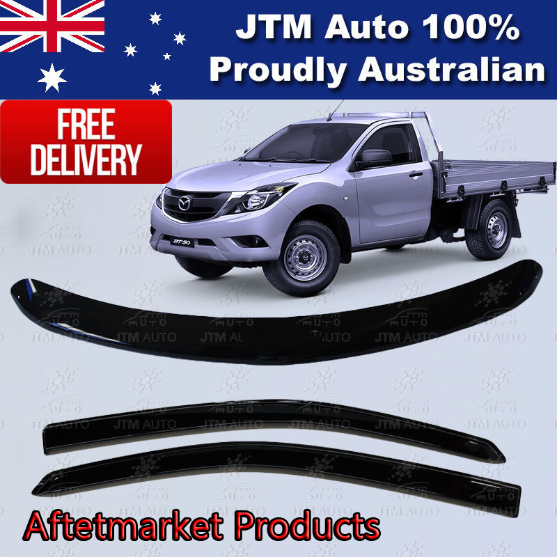 Bonnet Protector + Weather Shields Visor tosuit Mazda BT-50 Single Cab 2012-2018