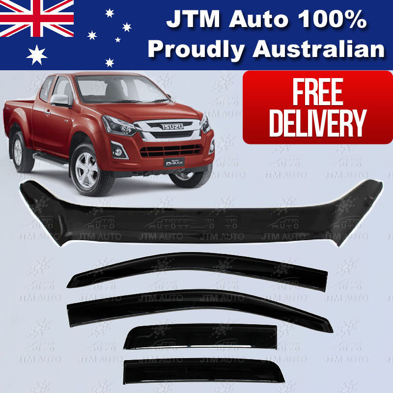 Bonnet Protector + Weather Shields For ISUZU D-max Dmax Extra/Super Cab 2017+