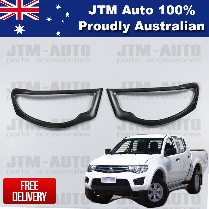 Matte Black Head Light Cover Protector Suits Mitsubishi Triton MN ML 2006-2014