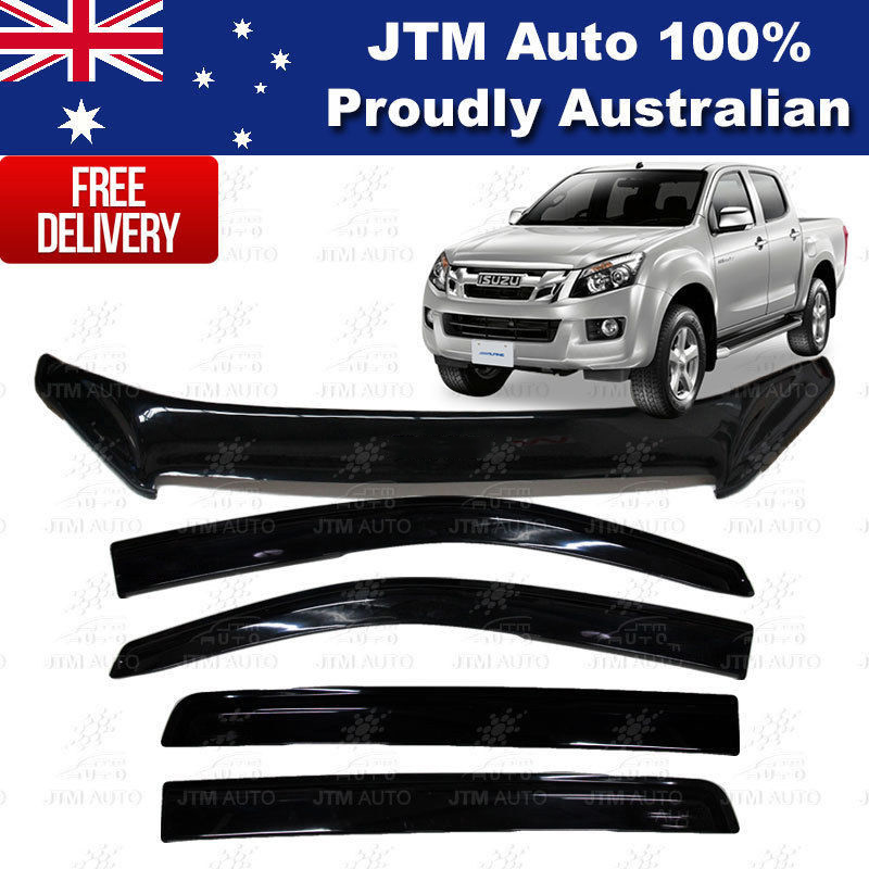 Bonnet Protector + Weather Shields Visors to suit Iszue D-Max DMAX  2012-2016