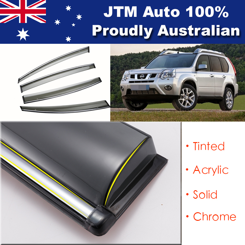 IJ Chrome Weather Shield Weathershield Window Visor for Nissan X-trail T31 07-13