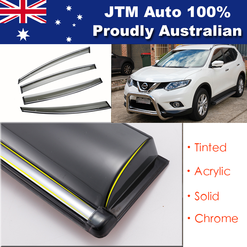 IJ Chrome Weather Shield Weathershield Window Visor for Nissan X-trail T32 14-18