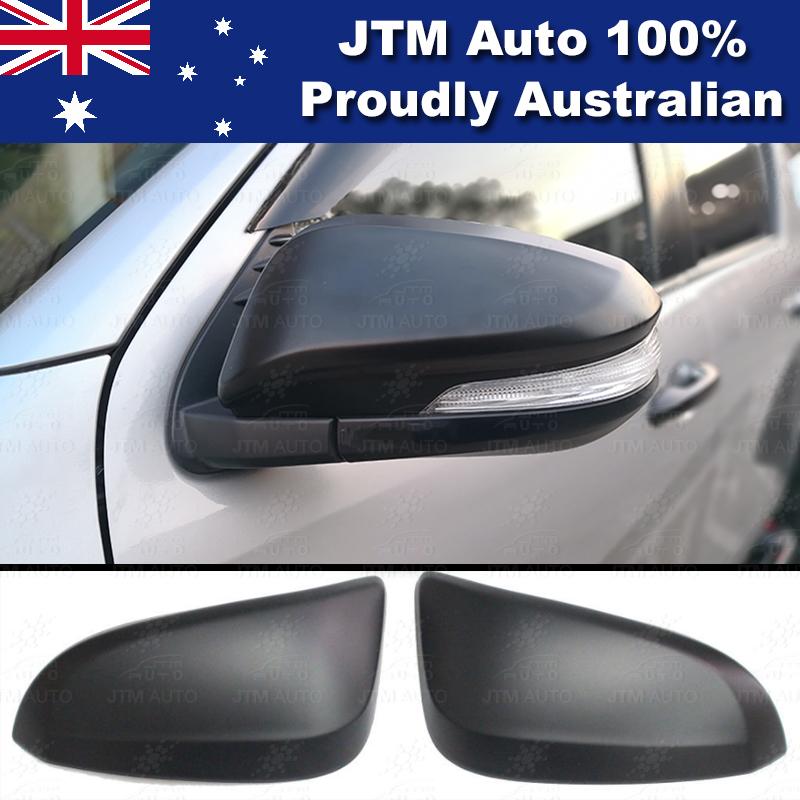 Matte Black Mirror Cover Indicators to suit Toyota Hilux Workmate SR SR5 15-18