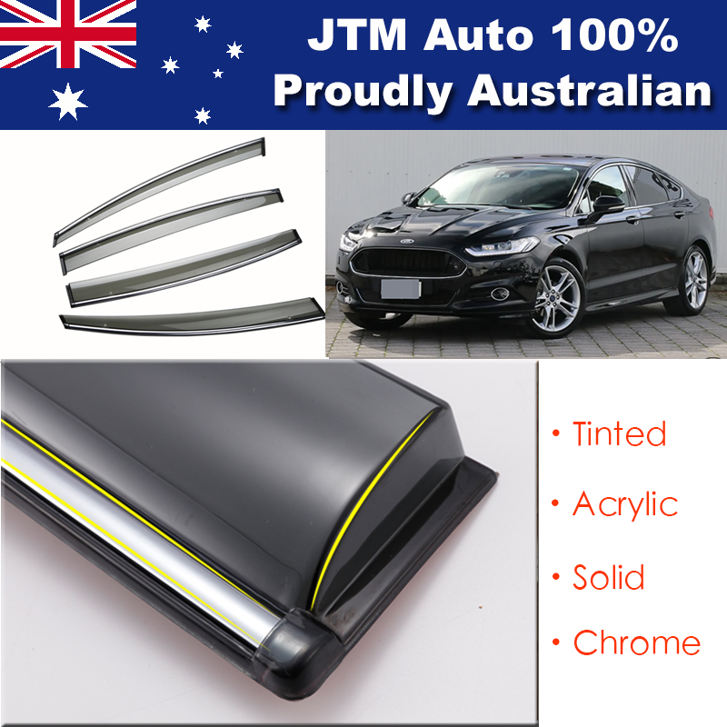 INJ Chrome Weather Shield Weathershield Window Visor For Ford Mondeo MD 14-18