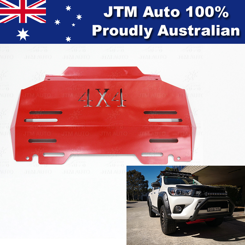 Bash Plate Front Sump Guard Red Protection to suit Toyota Hilux 2015-2018