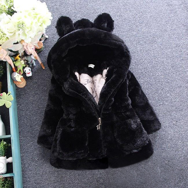 4d2a41b505c6 Kid Baby Girl Toddler Fur Coat Winter Warm Outerwear Thick Jacket ...