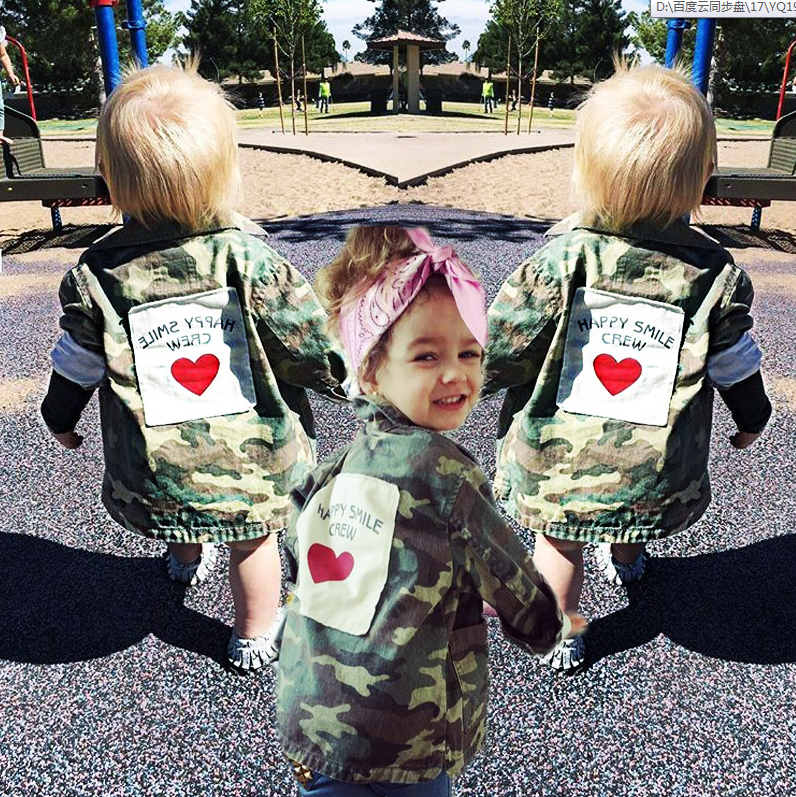 979a3773b168 Baby Kids Boys Girls Camouflage Back Patch Love Army Outerwear ...