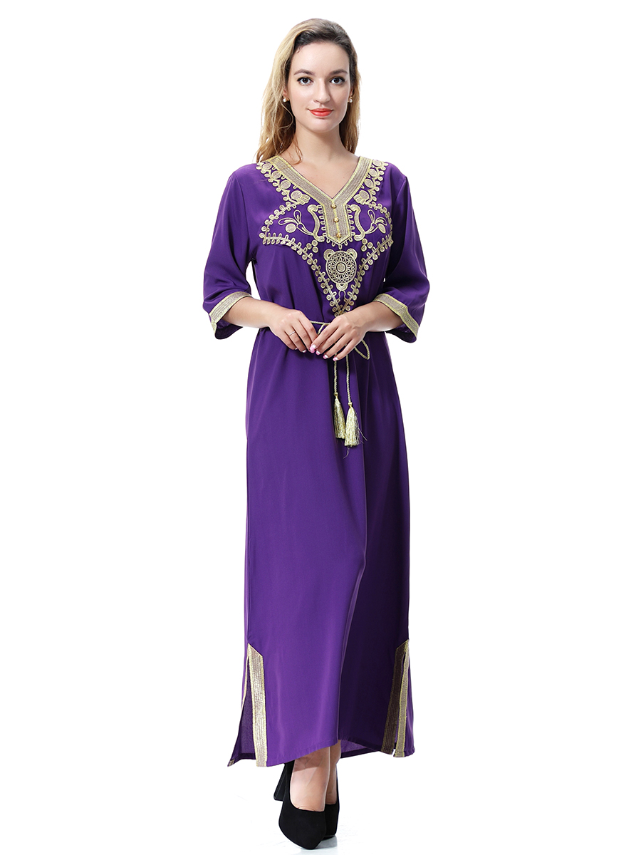 Women Lady Long Maxi Dress Beach Party Cocktail Muslim Abaya Islam ...