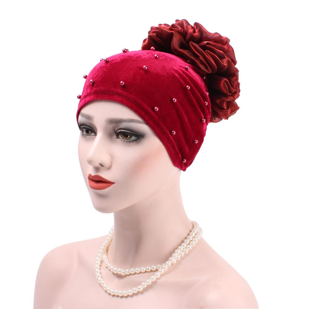 ad9fea76fe7 Women Muslim Inner Under Scarf Flower Islamic Cover Hat Velvet Cap Hijab