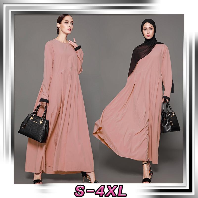 Abaya Muslim Women Islamic Jilbab Cocktail Loose Long Sleeve Arab