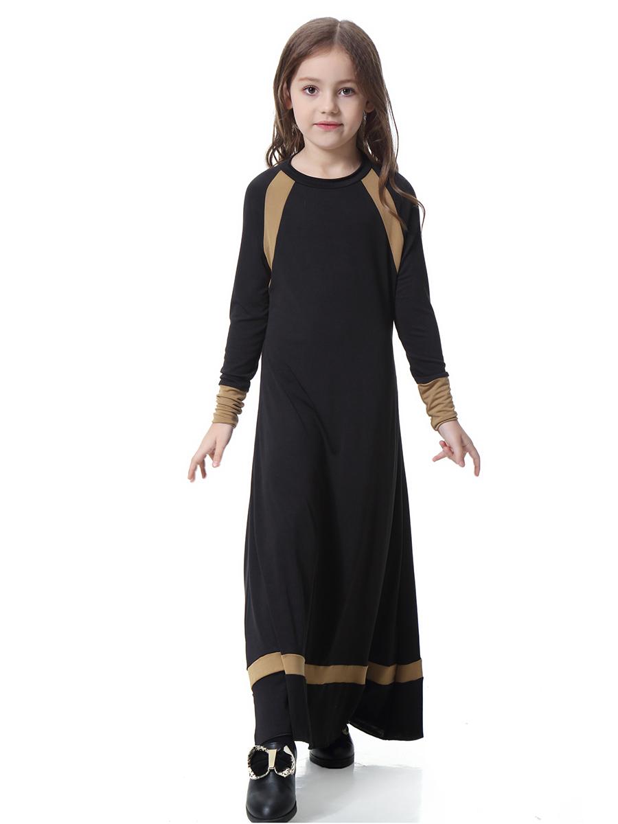 Muslim Girls Maxi Dress Kids Long Sleeve Abaya Islamic ...