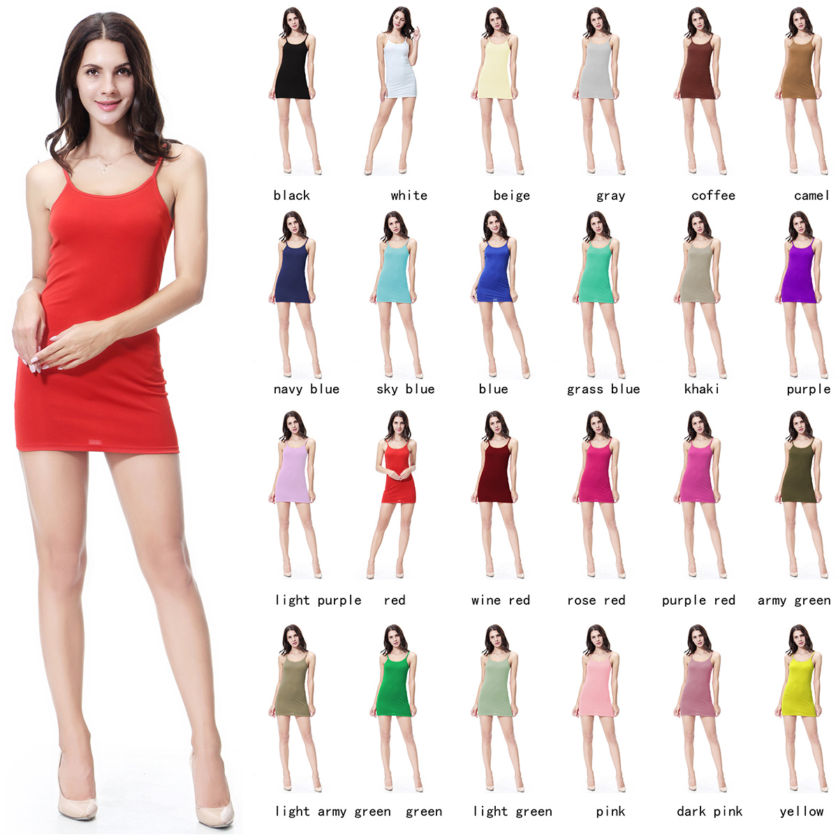 8e00b573b3 Details about Women s Elastic Sleeveless Spaghetti Strap Slip Short Mini Bodycon  Dress Fashion
