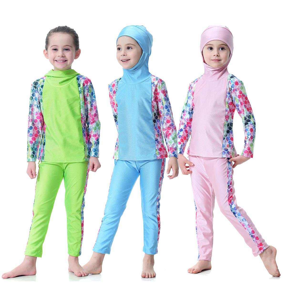 Kids Short Sleeve Swimsuit Muslim Islamic Two Piece Girl Modest Swimwear Swimsuits Colorful Print Rash Guard Sets