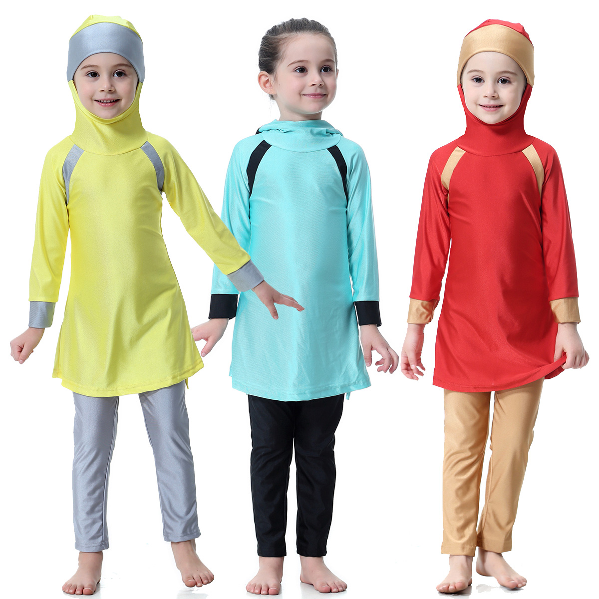 Muslim Kids Girls Burkini Swimsuit Modest Islamic Beachwear Bathing Suit Sets
