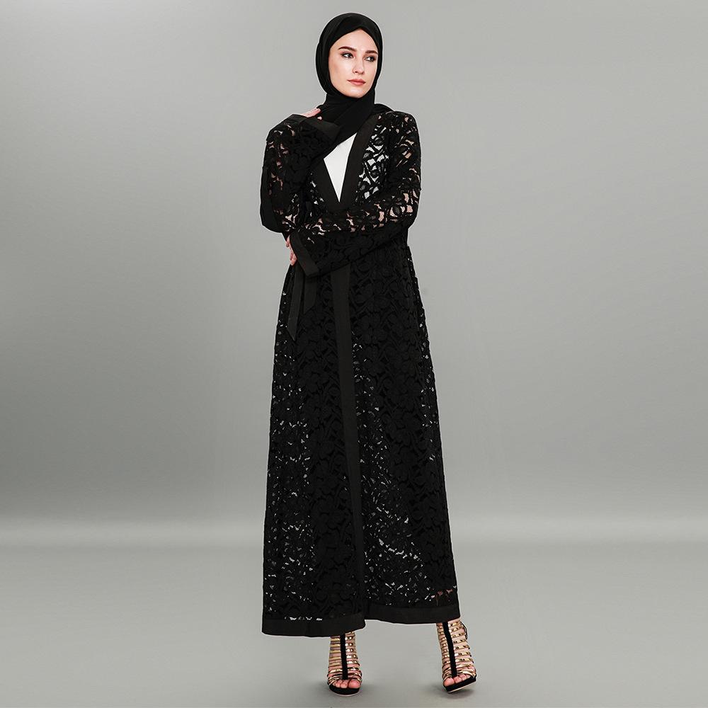 Fashion Women Islam Lace Cardigan Muslim Dress Vintage Abaya Maxi ...